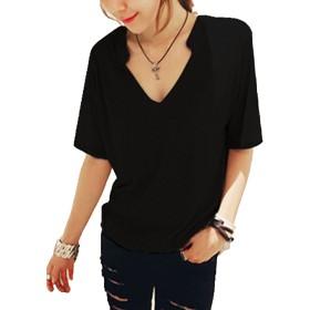 [ミニマリ] スキッパー カットソー 無地 シンプル 薄手 プルオーバー カジュアル 半袖トップス Tシャツ レディース (05 S サイズ ブラック)