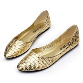 Youchan(ヨウチャン) 光沢 カラー 編込み フラット パンプス ローヒール 靴 シューズ レディース (41(25.5cm),ゴールド)