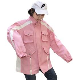 YiTong レディース ブルゾン 春 ショート丈 ジャケット ジップ アップ ジャンパー シンプル ゆったり 防風 シンプル アウター カレッジ風 韓国風 ファッション カジュアルT