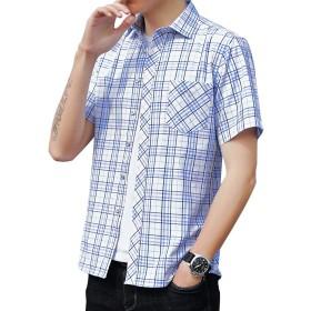 チェックシャツ メンズ 長袖 半袖 ウィンドウペーン ギンガム カジュアル 秋 夏 大きいサイズ 15色 D90-ブルー1 L