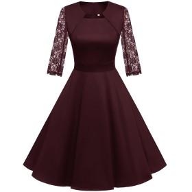 Homrain 50年代 ワンピース ドレス おおきいサイズ 結婚式 ワンピース パーティードレス Aライン カップ袖 7分袖 フォーマル カジュアル 婚活 ワインレッド-1 XLサイズ