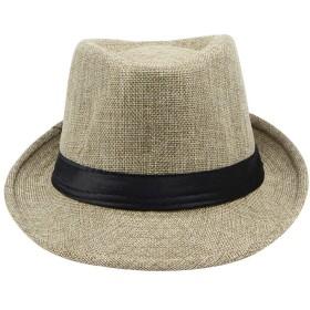 紳士 中折れ帽 Meilaifushi ストローハット 春夏秋 相性抜群 純色 パナマ帽 麦わら 帽子 遮光 UV 紫外線 日よけ メンズ 折りたたみ つば広 かぎ編み ミックスペーパーハット 調節可能の リボン飾り 父の日プレゼント 彼氏 人気商品