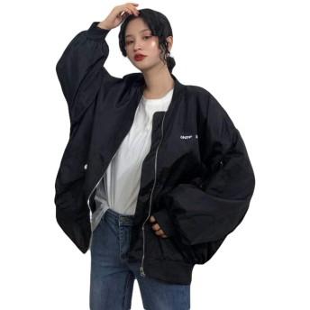 BeiBang(バイバン)ブルゾン レディース 長袖 アウター オーバーサイズ スタジャン 黒 ジャンパー 原宿系 韓国ファッション アウター(黒)