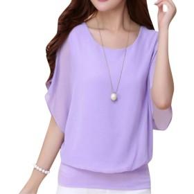 formanism ゆったり シフォン 半袖 二の腕 カバー 袖 ゆらり シャツ Tシャツ レディース 全6色 (パープル M)