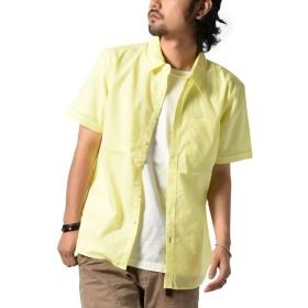 [ハルハム] シャツ ストレッチシャツ メンズ 半袖 ビジネス カジュアル yシャツ ドレスシャツ 綿シャツ 無地 シンプル 174001 (M, イエロー)