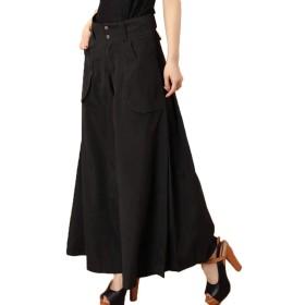 [CAIXINGYI] 春 夏 新しい ワイドレッグパンツ 女性 キュロット ファッション スリム ハイウエストパンツ ルーズ レディース 大きなサイズ ズボン (32, ブラック)