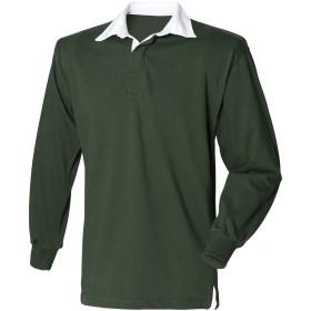 (フロント・ロウ) Front Row メンズ 長袖ラガーシャツ ポロシャツ トップス カットソー 男性用 (L) (ダークグリーン)
