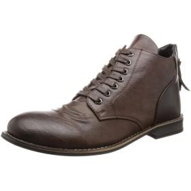 [グラベラ] バックジップ ショートブーツ メンズ ブーツ カジュアル ビジネス オンオフ兼用 ダークブラウン 25.0~25.5 cm 3E