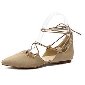 Fashion maker(F&M)レディース レースアップ シューズ フラットシューズ ポインテッドトゥ パンプス バレエシューズ 靴 ベージュ ブラック 大人 かわいい ローヒール 歩きやすい 痛くない 美脚 (23.5, ベージュ)