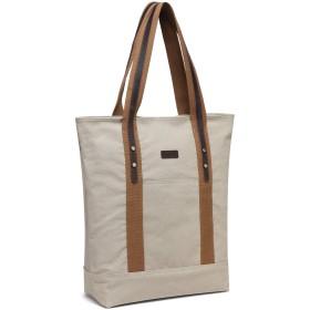 トートバッグ レディース,VASCHY キャンバス 本革 バッグ大容量 ビジネスバッグ 買い物バッグ ファスナー付き ベージュ