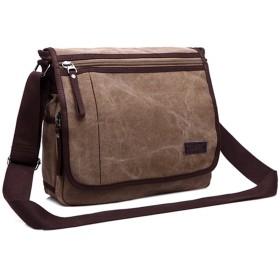 MINIBA ショルダーバッグ 蓋付き 上質キャンバス 帆布 ズック メンズ メッセンジャーバッグ 通学 通勤 自転車鞄 A4書類かばん (コーヒー)