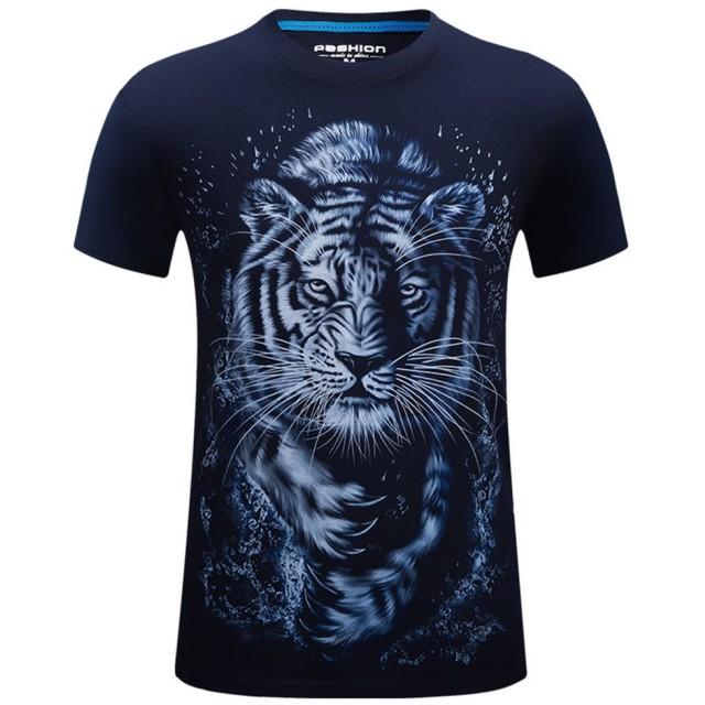 Tシャツ メンズ 半袖 3Dプリント ティーシャツ クルーネック トップス スポーツウェア 人気 春 夏 服 ブラック/ネイビー選択可 1枚 (ネイビー, L)