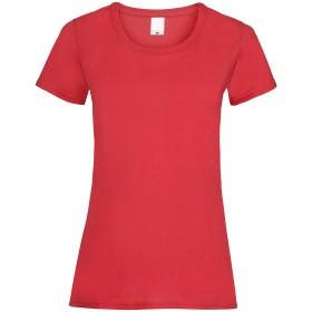 レディース バリュー フィット ショートスリーブ カジュアル 半袖 Tシャツ 女性服 (S, ブライトレッド)