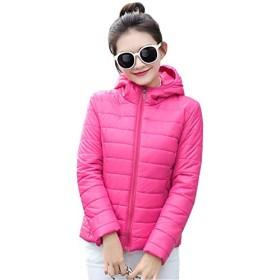BOZEVON ダウンジャケット レディース - おしゃれ ロングスリーブ 軽量 防風 防寒 ダウン コート ソリッドカラー 細身ジャケット 大きいサイズ, ローズ レッド(フード付き), 2XL