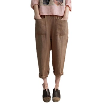 夏 女性 綿 大きいサイズ ロングパンツ カジュアル 弾性ウエスト ポケット付き ストライプ ハレムズボン バギーズボン (カーキ, XXL)