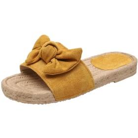 [XIAYE] サンダル ビーチサンダル レディース スリッパ 夏 軽量 蝶の結び目 フラット ローマの靴 日常着用 自宅用 室内履き