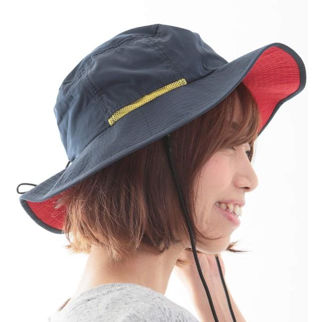 帽子 サファリハット レディース メンズ 撥水 UV ハット (ネイビー, M)