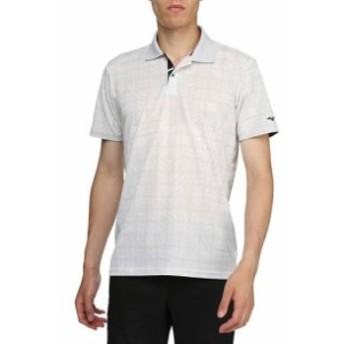 プリントチェック柄半袖シャツ(ポロ衿・メンズ) MIZUNO ミズノ ゴルフ ウエア 半袖シャツ (52MA9012)