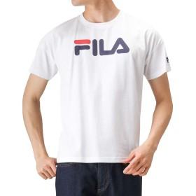 FILA(フィラ) 衿テープ ビッグロゴTシャツ 半袖Tシャツ プリントTシャツ FH7522 メンズ ホワイト:XXL