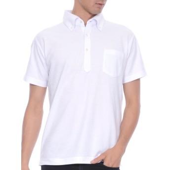 ティーシャツドットエスティー ポロシャツ ドライ 半袖 無地 鹿の子 ボタンダウン 消臭機能 ポケット付き UVカット 5.3oz メンズ ホワイト XL