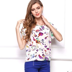 Honghu Tシャツ レディーズ シフォン 夏新品 半袖 鳥柄 身軽 やや細身