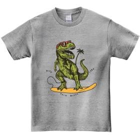 【ノーブランド品】【サーフィンする ティラノサウルス】 グレー 120cm キッズ 半袖 Tシャツ