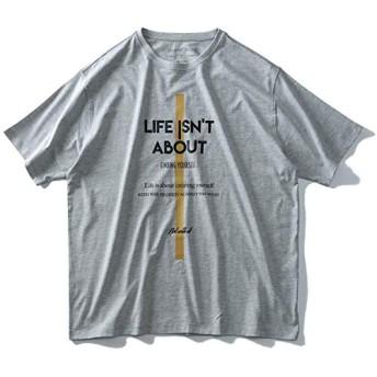 DANIEL DODD 半袖 Tシャツ オーガニック プリント 半袖Tシャツ LIFE ISNT ABOUT azt-190227 大きいサイズ メンズ【916.杢グレー-4L】
