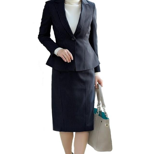 RUIRUE BOUTIQUE(ルイ・ルエ・ブティック) キャリア セットアップ スーツ (SU616) レディース スカート スカートスーツ ビジネススーツ 通勤 オフィス ビジネス 結婚式 セレモニー フォーマル 入園式 入学式 卒園式 卒業式 スリム 洗濯可能 消臭 大きいサイズ M(9号) ネイビー(ストライプ)(AN)