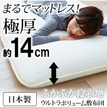 敷布団 シングル 日本製 100×200 シンプル 固わた 快適!日本製ウルトラボリューム敷布団
