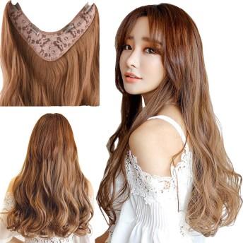 FEIBIN ウィッグ U型ハーフウィッグ 女性 かつら エクステ クリップ つけ毛 部分ウィッグ ミディアム ロング丈 巻き髪 ゆるふわ 自然 耐熱仕様 ストレートOR カール 5色 5長さ (60cm, ダークブラウン(カール))