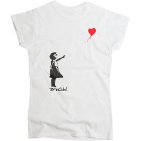 Nutees Women's Banksy Girl Heart Shaped Balloon T Shirt White XXLarge
