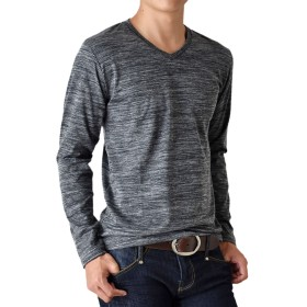 (アローナ)ARONA メンズ TC杢 Vネック ロンT 長袖 Tシャツ /M1.5/ 18ブラック系 LL