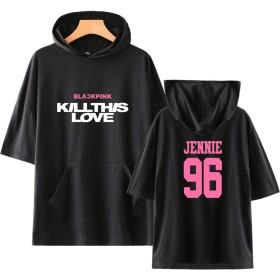 KPOP BLACKPINK KILL THIS LOVE Tシャツ 半袖 応援服 コンサート 韓流グッズ コットン 男女兼用 (JENNIE-ブラック, S)