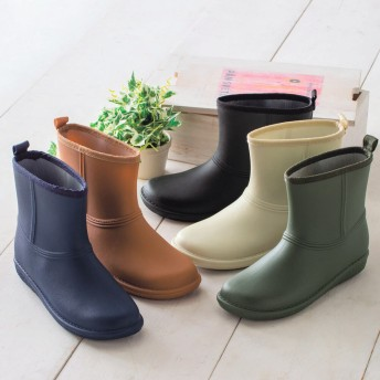 【格安-女性靴】レディースシンプルショート丈レインブーツ