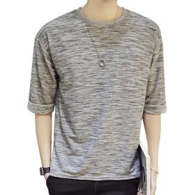 Goodid Tシャツ ゆったり クルーネック カジュアル 五分袖 メンズ(L,グレー)