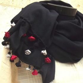 レースの薔薇付き パシュミナストール「ローズ」ブラック