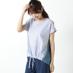 シャツ ブラウス レディース 裾ギャザーストライププルオーバー 「ターコイズ」