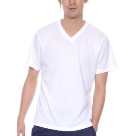 ティーシャツドットエスティー Tシャツ ドライ 半袖 無地 Vネック UVカット4.4oz メンズ ホワイト S