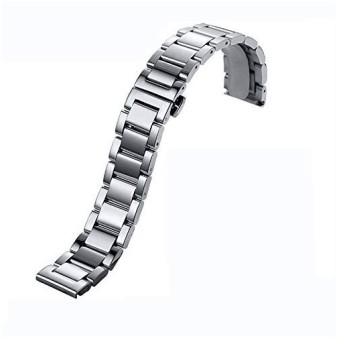 20mmステンレススチールブレスレットウォッチバンドストラップバタフライバックルクラスプ5ビーズソリッドシルバーツール(磨砂)