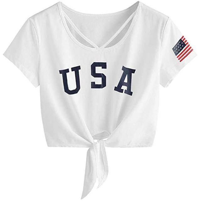 レディー半袖Tシャツトップス夏コットンとリネントップスレディース半袖トップスクロススクープネックTシャツ結び目フロントアメリカ国旗ティーレディーシャツトやわらか通気性ップス