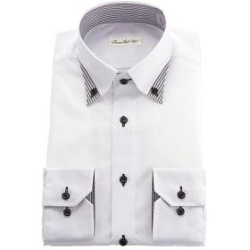 [ドレスコード101] 形状記憶 ワイシャツ 長袖 メンズ 形態安定 ドレスシャツ 綿50% おしゃれ ホワイト(小紋) M (首周り39-裄丈82)