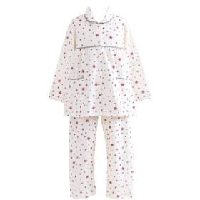 ケーズアイ 子供パジャマ女児用 綿100%ニットキルト地 雪の結晶 前開きパジャマ 長袖・長パンツ 冬向き商品
