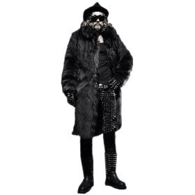 [呉屋デパート] メンズ アウター ファーコート 毛皮コート ロングコート フェイクファー付き 毛皮襟 ゴージャス ロングコート 男性用スマイルファーロングコート