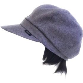 【抗がん剤治療】【毛付き帽子】 ショートWig付き キャスケット帽子(裏シルク) Ladies フリーサイズ Cheemo Hat (ラベンダー)