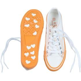 [ATA] スニーカー レディース キャンバスシューズ ローカット 靴 旅行する パーティー おしゃれ 可愛い着やすい 22.5cm-25cm A662 (25cm, オレンジ)