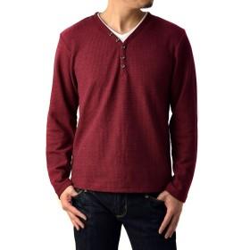 (フラグオンクルー) FLAG ON CREW メンズ ワッフル Yヘンリーネック ロングTシャツ 長袖 Tシャツ / B2X / M ワイン・濃紅