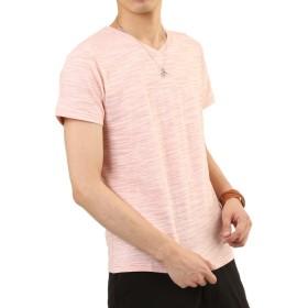 (アーケード) ARCADE メンズ Tシャツ スラブボーダー 半袖 杢 Vネック カットソー L ピンク(半袖)
