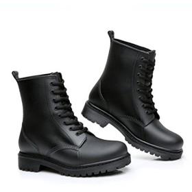 [CY株式会社] サイドゴア レインブーツ ショート カップルシューズ メンズ 防水 防滑 雪 雨靴 マーティンブーツ風 男女兼用 屈曲性 歩きやすい 柔らか 黒い色 25.0cm
