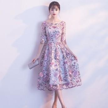 パーティードレス ワンピース フレア 結婚式 二次会 発表会 シースルー お呼ばれ 大きいサイズ 韓国 ミモレ丈 五分丈