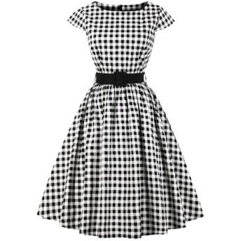 YACUNレディース ワンピース ドレス 半袖 格子縞 1950 年代 レトロ Aライン ベルト付き カクテル 結婚式 パーティー 黒 XL